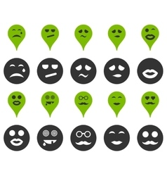 Smiles map markers icons vector