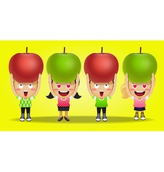 Happy people carrying big red and green apples vector