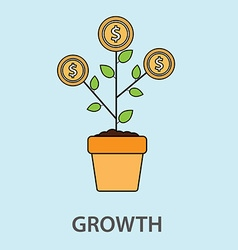 Money tree growth concept in flat style vector