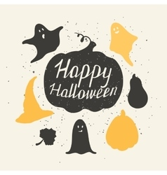 Hand drawn halloween silhouetts collection with vector