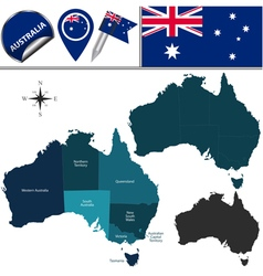 Australia map with named divisions vector