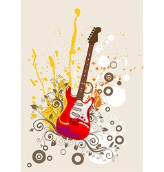 Retro guitar icon vector