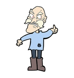 Comic cartoon angry old man in patched clothing vector
