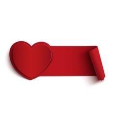 Blank red banner with heart vector