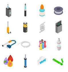 Electronic cigarettes isometric 3d icons vector