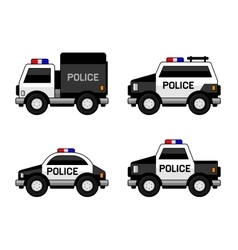 Police Car Set Classic Black and White Colors vector image