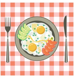 Fried eggs in a plate vector