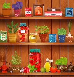 Shelves with delicious organic food and different vector