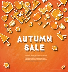 Autumn sale banner with pumpkin leaves vector