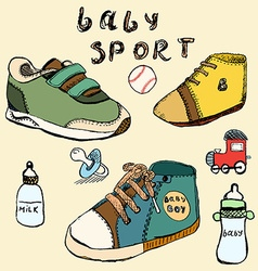 Baby shoes set sketch handdrawn in color vector image vector image
