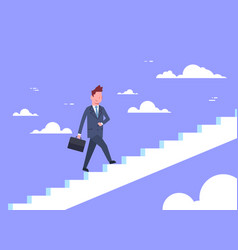 business man walking stairs up businessman career vector image