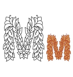 Capital letter M in an organic leaf design vector image vector image