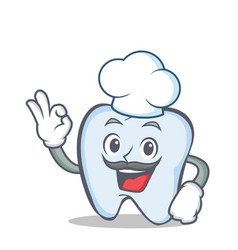 Chef tooth character cartoon style with okay vector