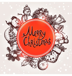 Christmas Card With Sketchs And Lettering vector image vector image