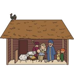 Christmas crib vector image vector image