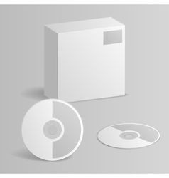 Computer cd disc paper box 3d mockup template vector