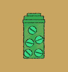 Flat shading style icon bank with pills vector