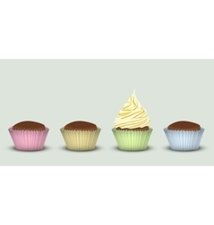 Four cupcakes in multi-colored pieces of paper vector