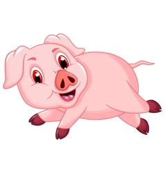 funny pig cartoon running vector image vector image