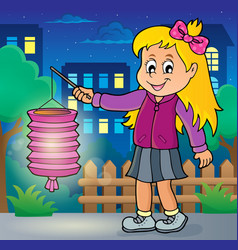 Girl with paper lantern theme image 2 vector
