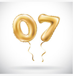 Golden number 0 7 zero seven metallic balloon vector