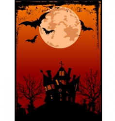 Halloween background with haunted house vector image