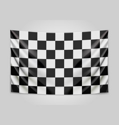 Hanging checkered flag race or winner flag vector
