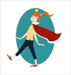 Happy girl wearing princess crown and mantle vector image