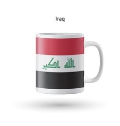 Iraq flag souvenir mug on white background vector image vector image