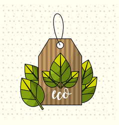 Label with leaves decoration design symbol vector
