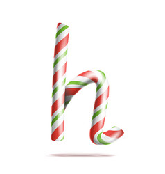 letter h 3d realistic candy cane alphabet vector image