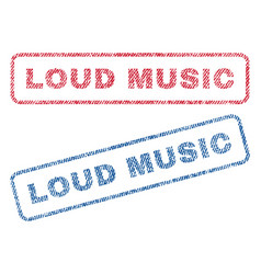 Loud music textile stamps vector