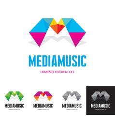 Media music - logo sign concept vector image vector image