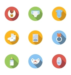 Newborn icons set flat style vector
