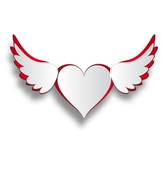 Red and white heart with wings cut out on a white vector image vector image