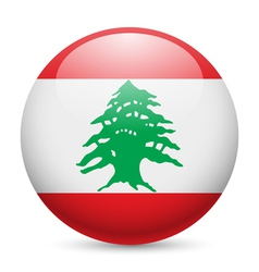 Round glossy icon of Lebanon vector image