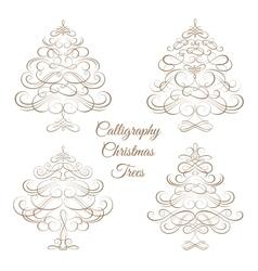 Set of Calligraphy Christmas trees vector image