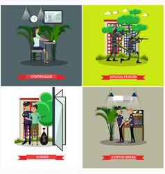 Set of catching thief concept posters in vector