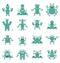 Set of flat moster icons3 vector image vector image