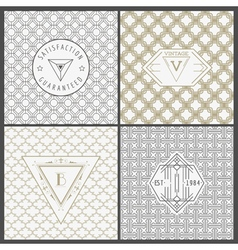 Set of vintage artdeco cards vector