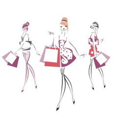 Sketch of fashionable women with bags vector image vector image