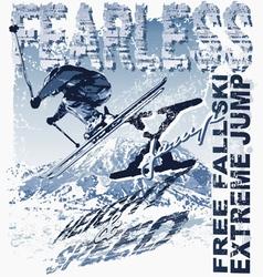 Ski free fall vector