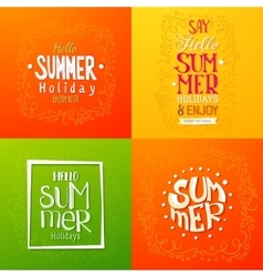 Summer holidays hand drawn posters vector
