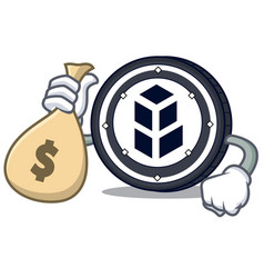 with money bag bancor coin character cartoon vector image vector image