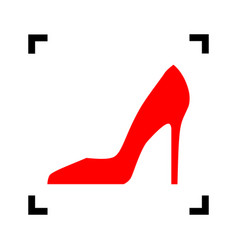 Woman shoe sign red icon inside black vector