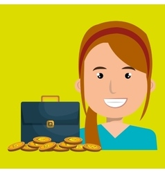 woman with portfolio and coins isolated icon vector image