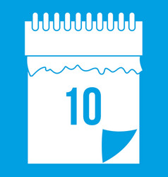 10 date calendar icon white vector