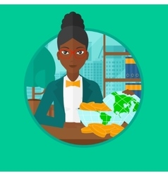 Business woman looking at globe full of money vector