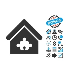Puzzle Building Flat Icon with Bonus vector image