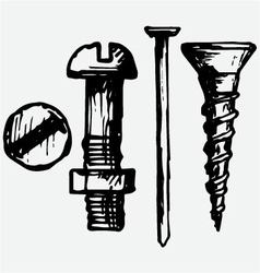 Set bolt nail and nut vector